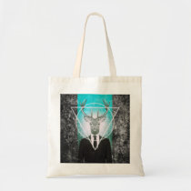 stag, classy, triangle, cool, stag in suit, vintage, original, art, hipster, bag, buck, animal, moose, graphic, design, creative art, photography, wild, animals, budget tote bag, Bag with custom graphic design