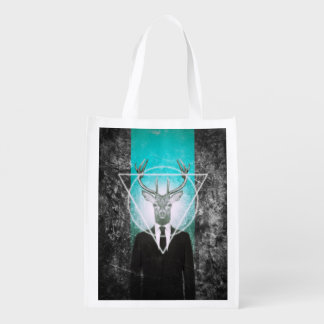 Stag in suit reusable grocery bags