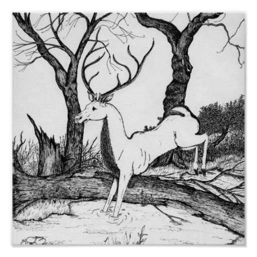 Stag leaping poster