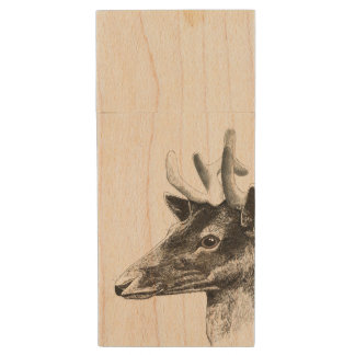 stag Maple wood USB drive