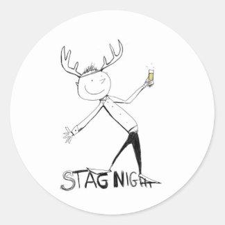 STAG NIGHT ROUND STICKER