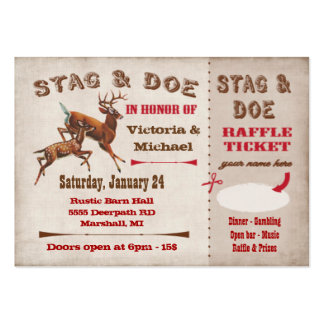 Stag or Buck and Doe ticket and raffle Large Business Cards (Pack Of 100)