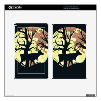 Stag over Full Moon Kindle Fire Skins