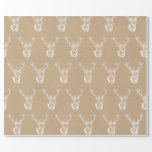 "Stag Print Christmas Wrapping Paper<br><div class=""desc"">Stag print Christmas wrapping paper with a faux brown paper print and white stag deer. Please see the Knots & Kisses shop for matching Christmas Cards.</div>"