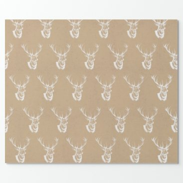 Christmas Themed Stag Print Christmas Wrapping Paper