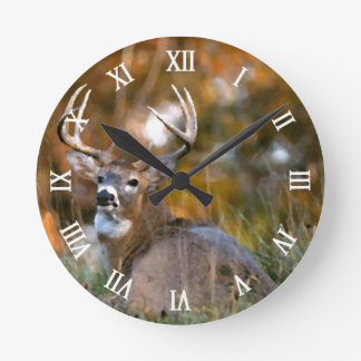 Stag Resting in Autumn Field Round Clock