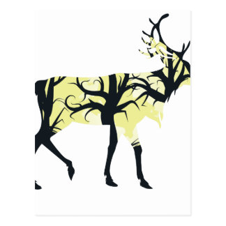 Stag Silhouette with Forest 3 Postcard