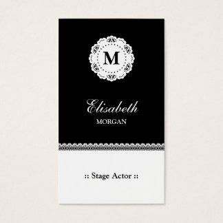 Stage Actor Black White Lace Monogram Business Card