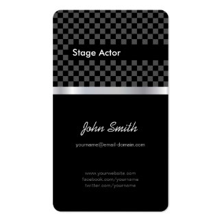 Stage Actor - Elegant Black Chessboard Double-Sided Standard Business Cards (Pack Of 100)