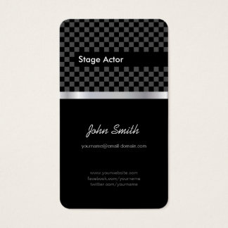 Stage Actor - Elegant Black Chessboard Business Card
