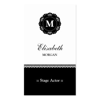 Stage Actor - Elegant Black Lace Monogram Double-Sided Standard Business Cards (Pack Of 100)