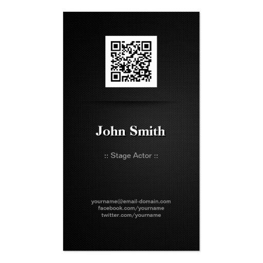 Stage Actor - Elegant Black QR Code Business Card Template