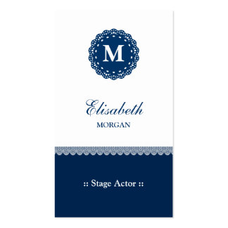 Stage Actor - Elegant Blue Lace Monogram Double-Sided Standard Business Cards (Pack Of 100)