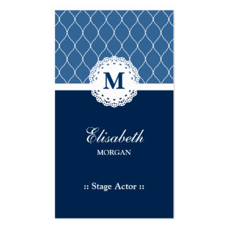 Stage Actor - Elegant Blue Lace Pattern Double-Sided Standard Business Cards (Pack Of 100)