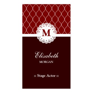 Stage Actor - Elegant Brown Lace Pattern Double-Sided Standard Business Cards (Pack Of 100)