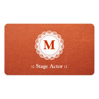 Stage Actor - Elegant Lace Monogram Double-Sided Standard Business Cards (Pack Of 100)