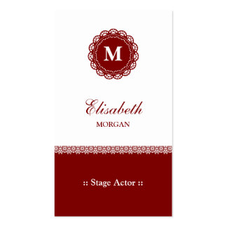 Stage Actor - Elegant Red Lace Monogram Double-Sided Standard Business Cards (Pack Of 100)