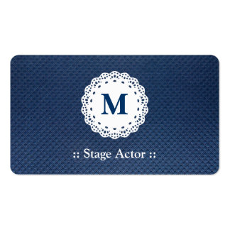 Stage Actor - Lace Monogram Blue Pattern Double-Sided Standard Business Cards (Pack Of 100)