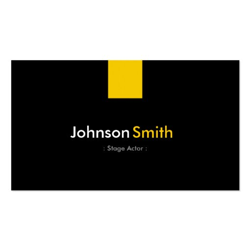 Stage Actor - Modern Amber Yellow Business Card