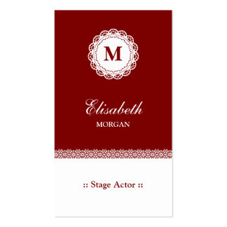 Stage Actor Red White Lace Monogram Double-Sided Standard Business Cards (Pack Of 100)