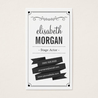 Stage Actor - Retro Black and White Business Card