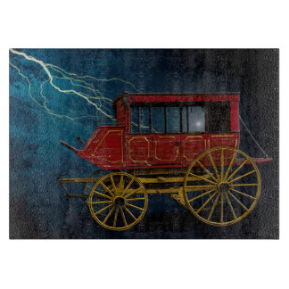 STAGE COACH IN LIGHTNING STORM CUTTING BOARD