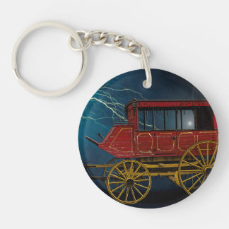 STAGE COACH IN LIGHTNING STORM KEYCHAIN