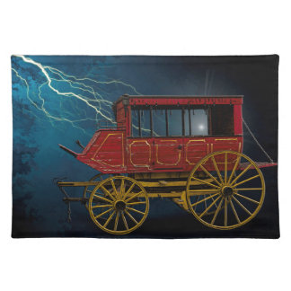 STAGE COACH IN LIGHTNING STORM PLACEMAT