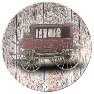 STAGE COACH PORCELAIN PLATE