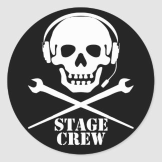 Stage Crew (Skull and Crosspodgers Sticker) Classic Round Sticker