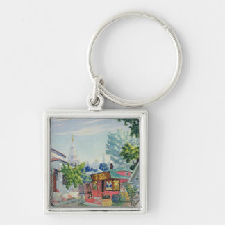 Stage design for the Ostrovsky's play Silver-Colored Square Keychain