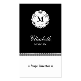 Stage Director Black White Lace Monogram Double-Sided Standard Business Cards (Pack Of 100)