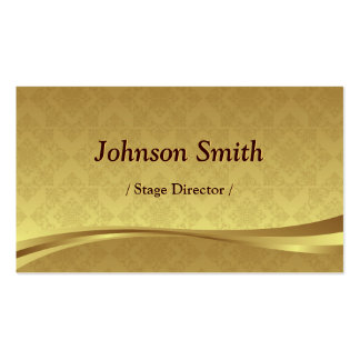 Stage Director - Elegant Gold Damask Double-Sided Standard Business Cards (Pack Of 100)