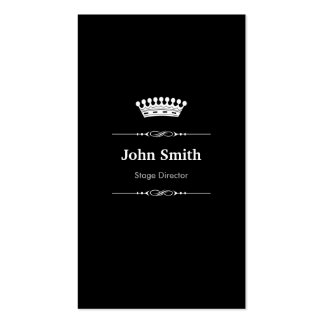 Stage Director Elegant Royal Black White Double-Sided Standard Business Cards (Pack Of 100)