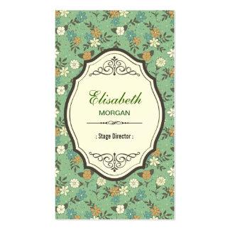 Stage Director - Elegant Vintage Floral Double-Sided Standard Business Cards (Pack Of 100)