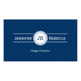 Stage Director - Modern Monogram Blue Double-Sided Standard Business Cards (Pack Of 100)