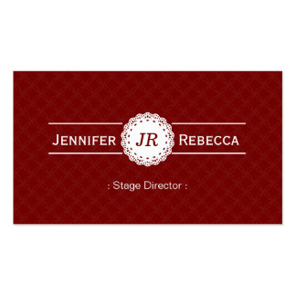 Stage Director - Modern Monogram Red Double-Sided Standard Business Cards (Pack Of 100)