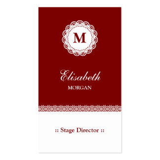 Stage Director Red White Lace Monogram Double-Sided Standard Business Cards (Pack Of 100)