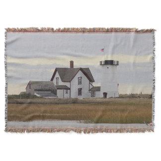 Stage Harbor Lighthouse Throw Blanket