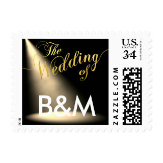 stage lighting with initials, wedding postage