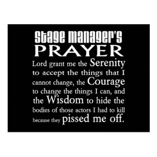 Stage Manager s Prayer Post Card