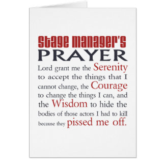Stage Manager's Prayer Stationery Note Card