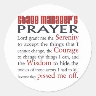 Stage Manager's Prayer Round Stickers