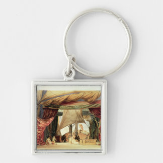 Stage model for the opera 'Tristan and Isolde' Silver-Colored Square Keychain