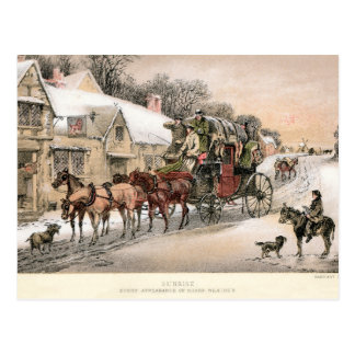 Stagecoach at Sunrise outside the Inn Postcard