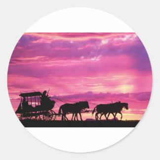 Stagecoach At Sunset Classic Round Sticker