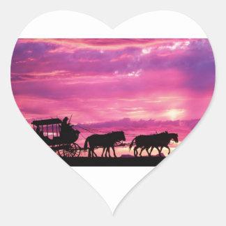 Stagecoach At Sunset Heart Sticker