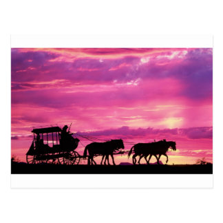 Stagecoach At Sunset Postcard