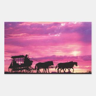 Stagecoach At Sunset Rectangular Sticker
