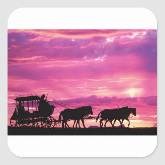 Stagecoach At Sunset Square Sticker
